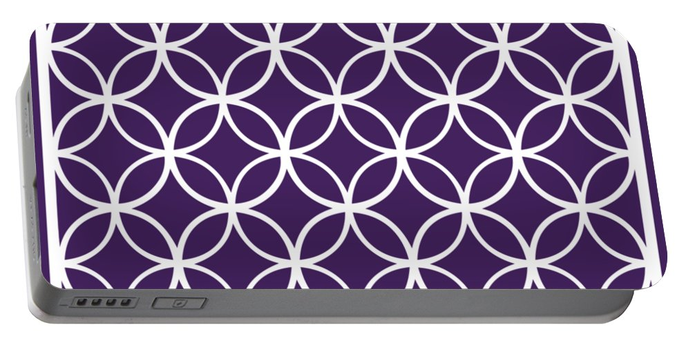Moroccan Endless Circles I Portable Battery Charger featuring the digital art Moroccan Endless Circles I With Border In Purple by Custom Home Fashions