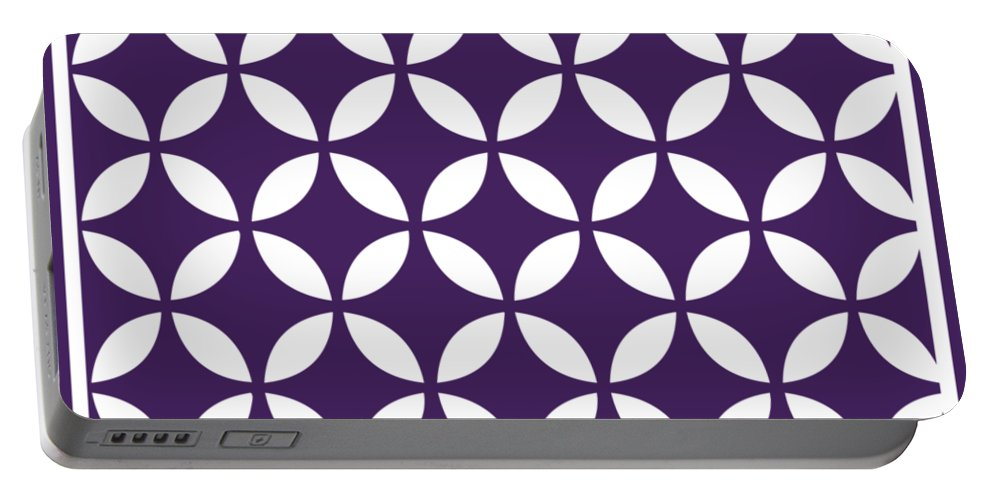 Moroccan Endless Circles Ii Portable Battery Charger featuring the digital art Moroccan Endless Circles II With Border In Purple by Custom Home Fashions