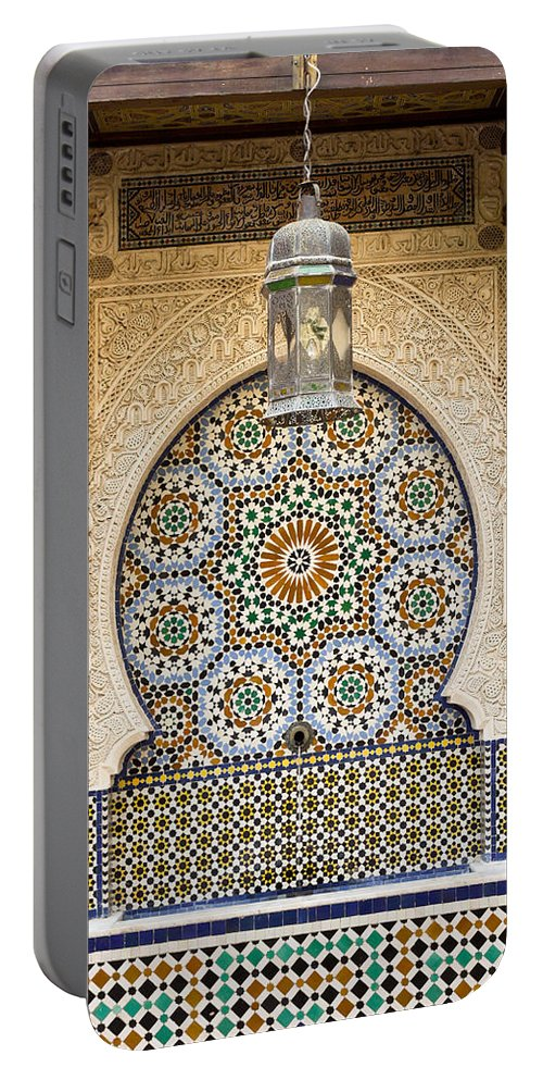 Africa Portable Battery Charger featuring the photograph Moroccan Fountain by Tom Gowanlock