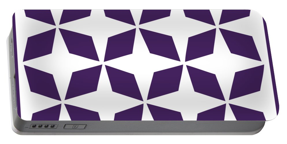 Moroccan Inlay Portable Battery Charger featuring the digital art Moroccan Inlay With Border In Purple by Custom Home Fashions