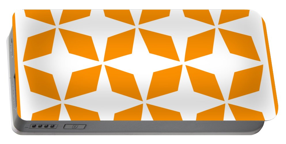 Moroccan Inlay Portable Battery Charger featuring the digital art Moroccan Inlay With Border In Tangerine by Custom Home Fashions