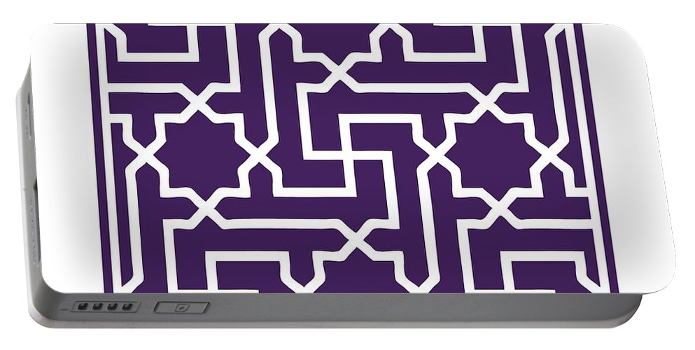 Moroccan Key Portable Battery Charger featuring the digital art Moroccan Key With Border In Purple by Custom Home Fashions