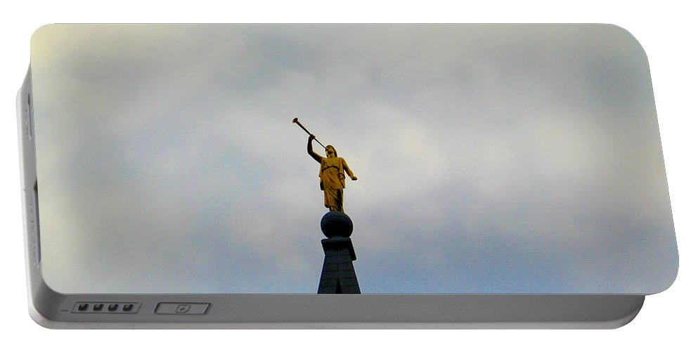 Angel Portable Battery Charger featuring the digital art Moroni Steeple Angel by Susan Vineyard