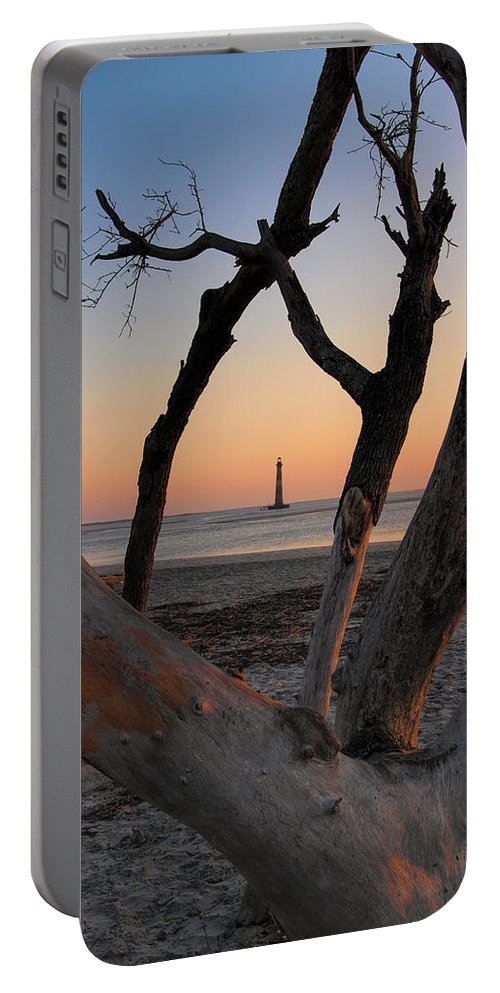 South Carolina Portable Battery Charger featuring the photograph Morris Island Lighthouse Sunrise 2 by Don Keisling