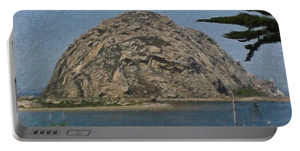 California Portable Battery Charger featuring the painting Morro Rock California Painting by Teresa Mucha