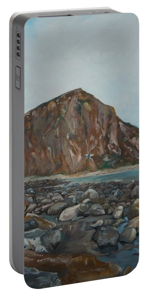 Morro Bay Portable Battery Charger featuring the painting Morro Rock by Travis Day