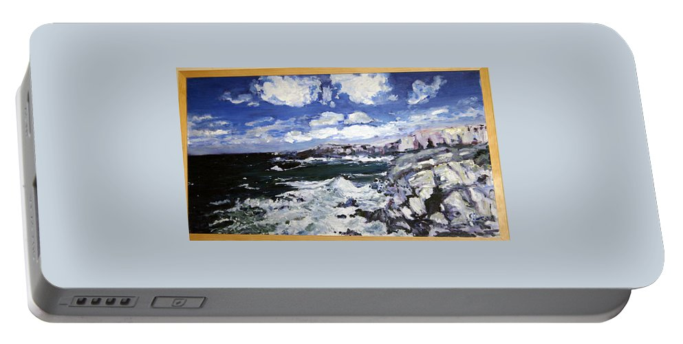 Landscape Portable Battery Charger featuring the painting Morska Energie by Pablo de Choros