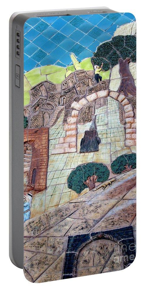 Mosaic Art At Petra Portable Battery Charger featuring the photograph Mosaic Art At Petra by Mae Wertz