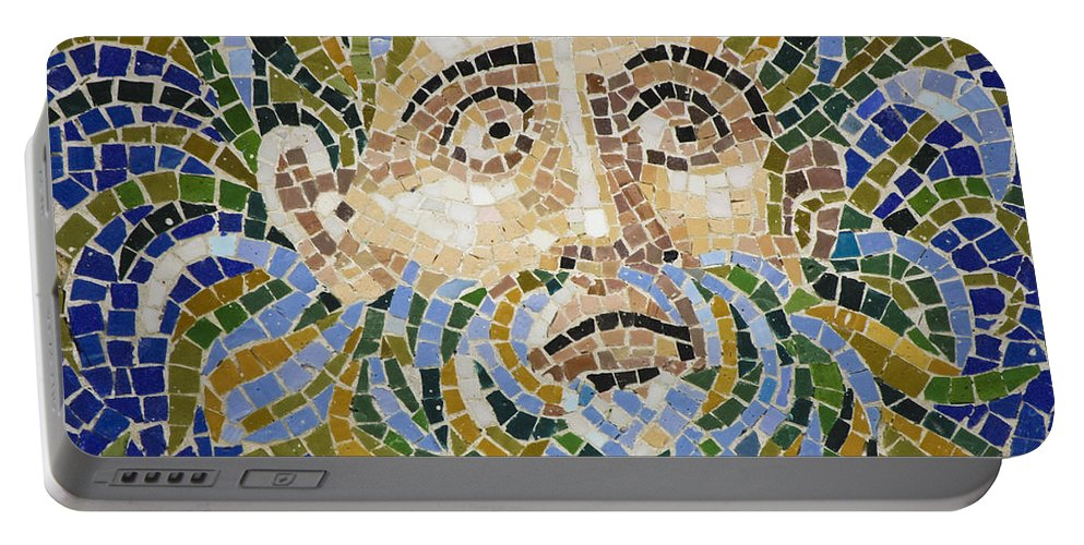 J Paul Getty Portable Battery Charger featuring the photograph Mosaic Face Fountain Detail by Teresa Mucha