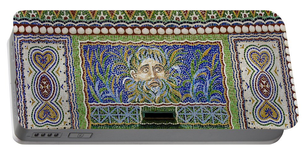 J Paul Getty Portable Battery Charger featuring the photograph Mosaic Fountain At Getty Villa 3 by Teresa Mucha