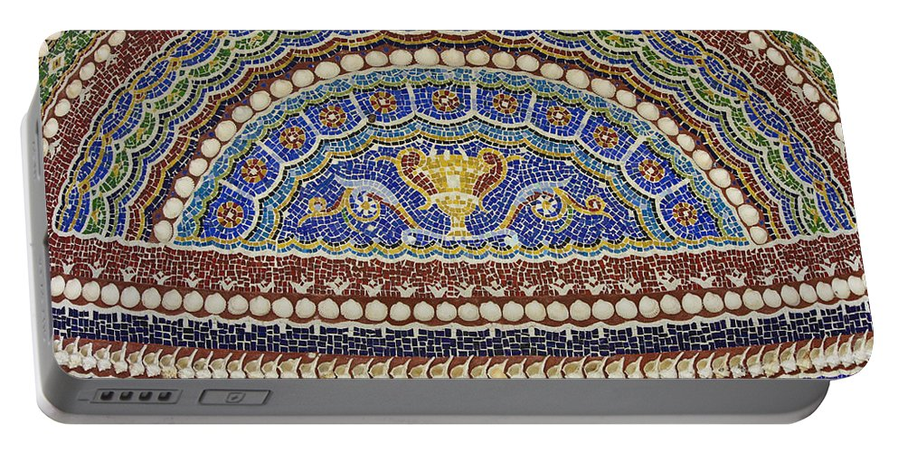 J Paul Getty Portable Battery Charger featuring the photograph Mosaic Fountain Detail 4 by Teresa Mucha