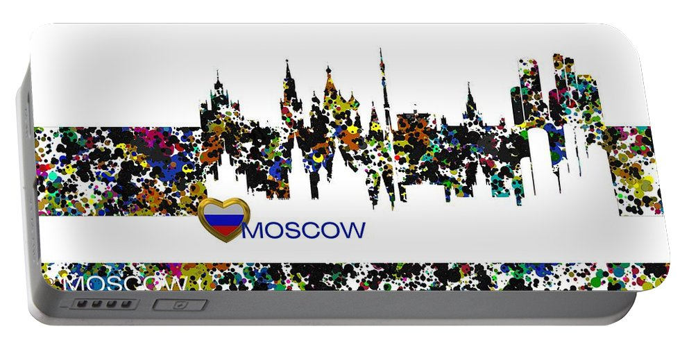 Moscow Portable Battery Charger featuring the digital art Moscow Skylines by Alberto RuiZ