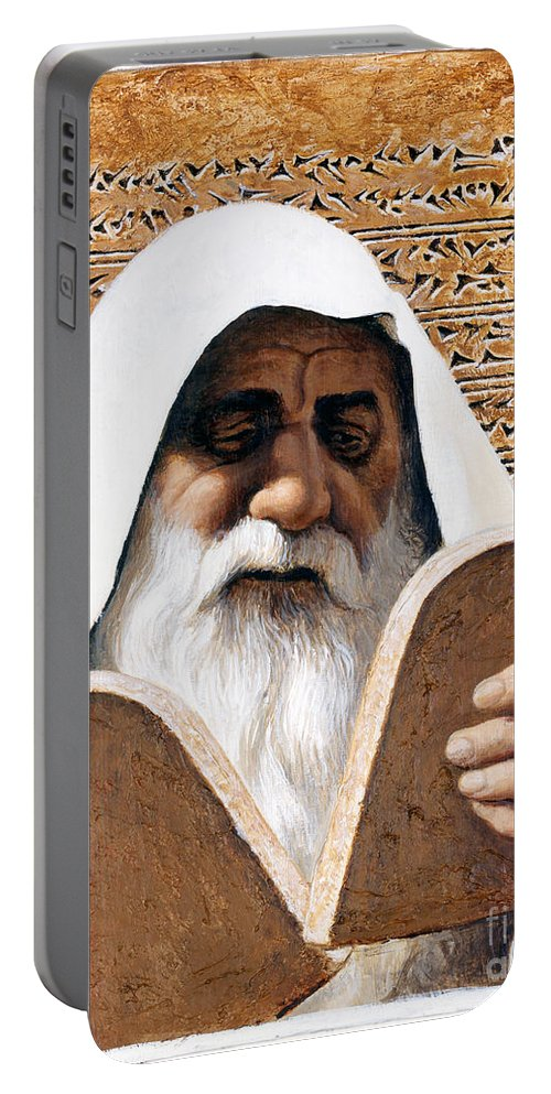 Moses Portable Battery Charger featuring the painting Moses - Lgmss by Louis Glanzman