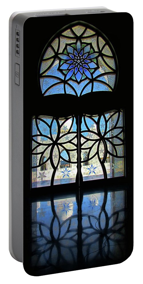 Artistic Window Portable Battery Charger featuring the photograph Mosque Foyer Window 2 by Mark Sellers