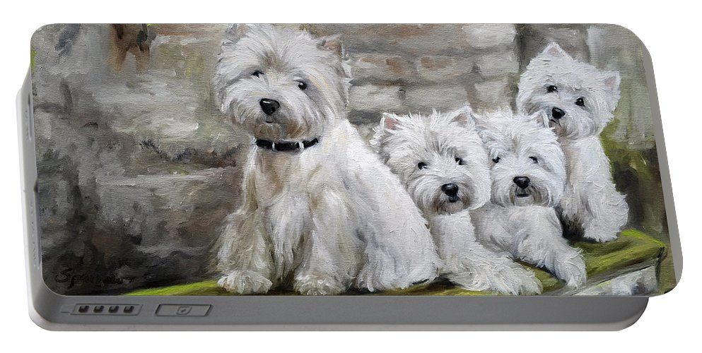 Westie Portable Battery Charger featuring the painting Moss by Mary Sparrow