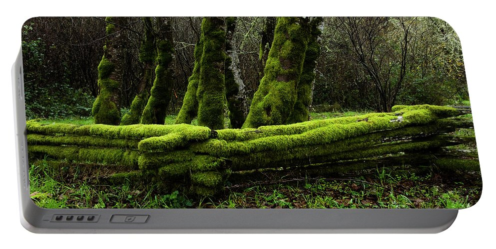 Moss Portable Battery Charger featuring the photograph Mossy Fence 3 by Bob Christopher