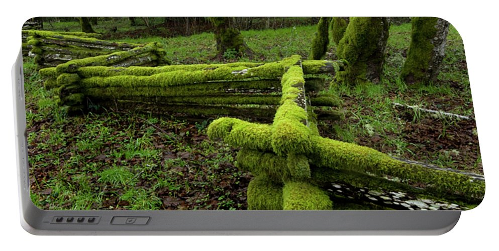 Moss Portable Battery Charger featuring the photograph Mossy Fence 4 by Bob Christopher