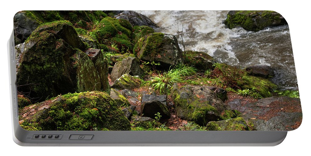 Jenny Rainbow Fine Art Photography Portable Battery Charger featuring the photograph Mossy Rocks And Water Stream by Jenny Rainbow