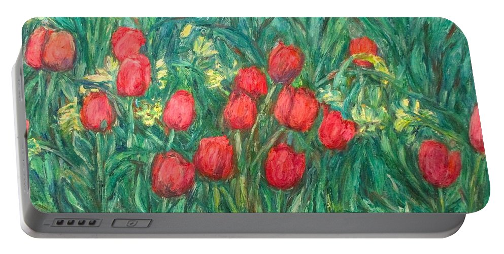 Kendall Kessler Portable Battery Charger featuring the painting Mostly Tulips by Kendall Kessler