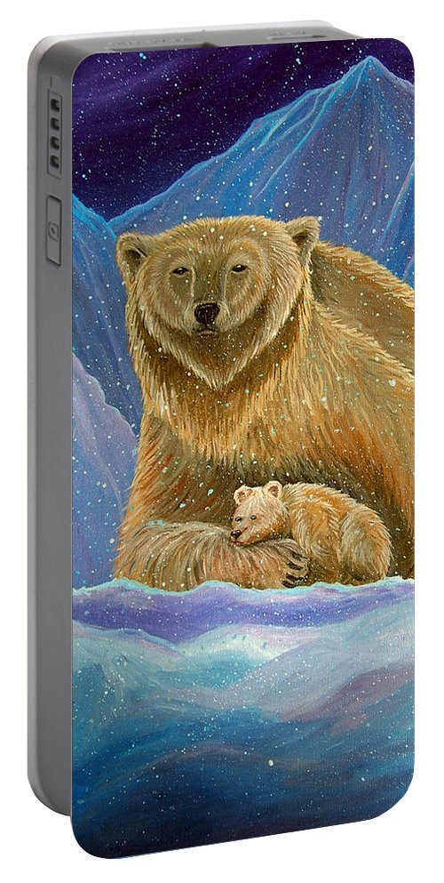 Polar Bear Portable Battery Charger featuring the painting Mother And Baby Polar Bears by Nick Gustafson