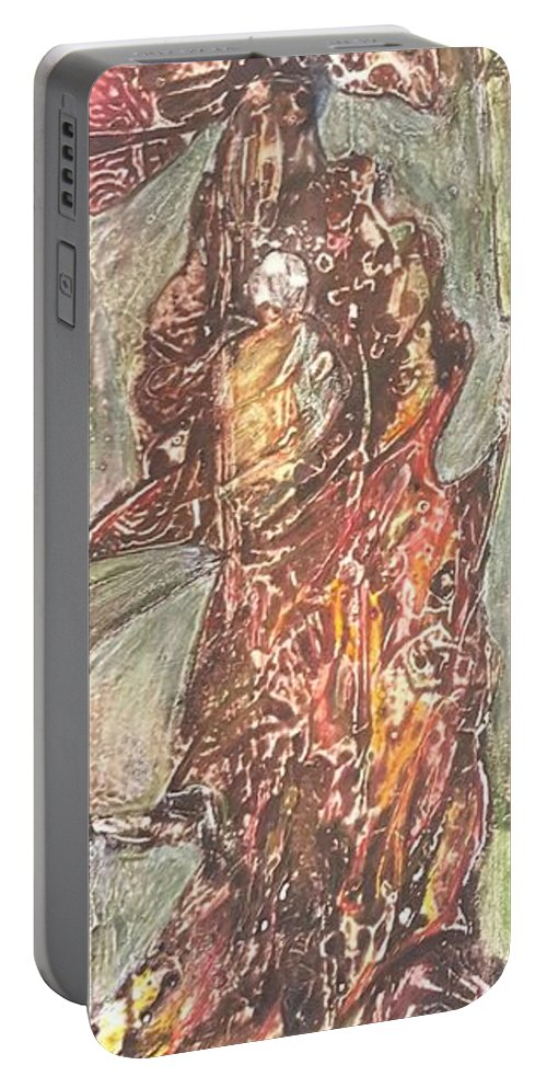 African Woman Portable Battery Charger featuring the painting Mother And Child by Ilona Petzer