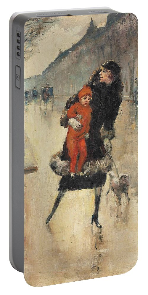German Art Portable Battery Charger featuring the painting Mother And Child On A Street Crossing by Lesser Ury