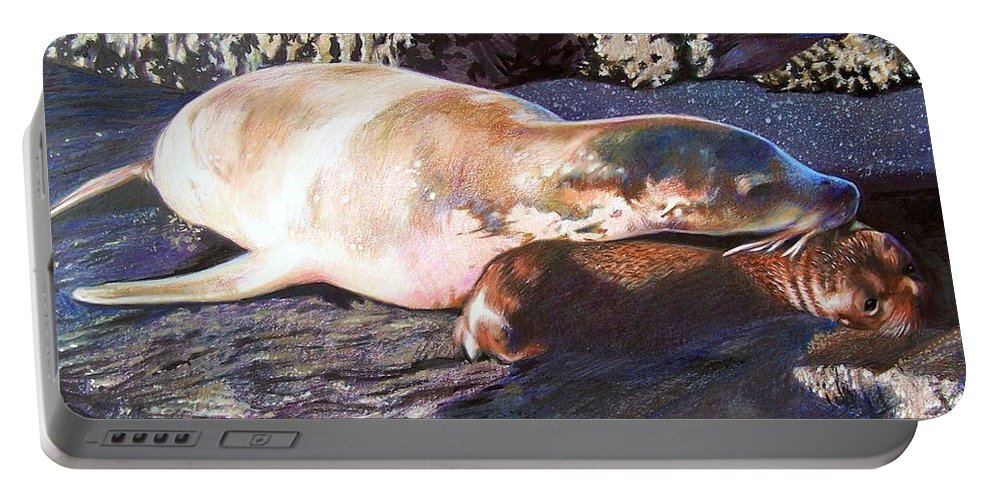 Sea Lion Portable Battery Charger featuring the mixed media Mother And Child Sea Lion by Constance Drescher