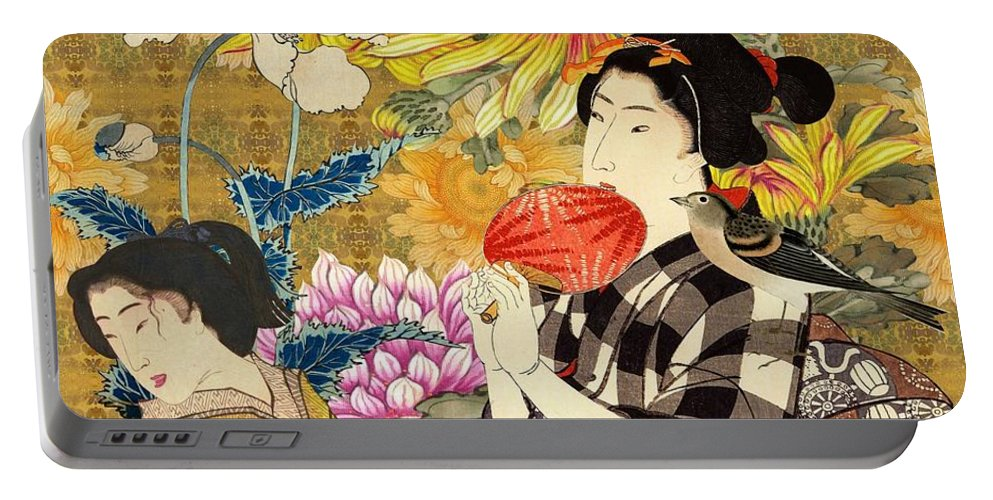Japanese Portable Battery Charger featuring the digital art Mother and Daughter by Laura Botsford