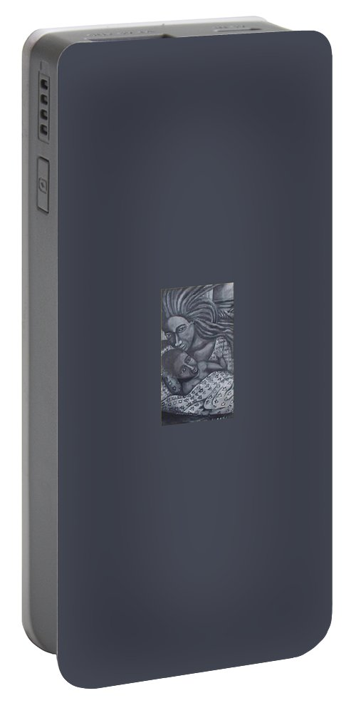 Mother Taking Care Of Child Portable Battery Charger featuring the painting Mother And Son by Andrew Johnson