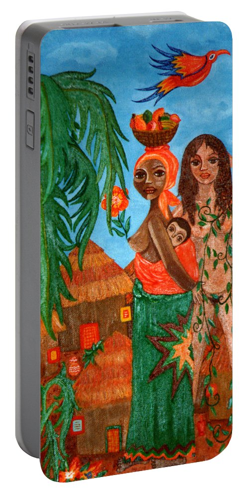 Mother Portable Battery Charger featuring the painting Mother Black Mother White by Madalena Lobao-Tello