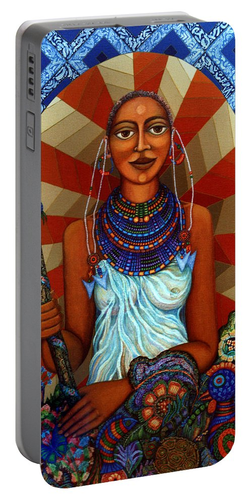Mother Earth Portable Battery Charger featuring the painting Mother Earth by Madalena Lobao-Tello