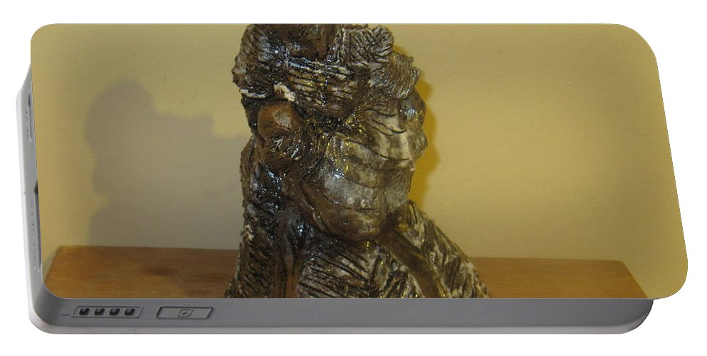 Jesus Portable Battery Charger featuring the sculpture Mother Feeding Baby by Gloria Ssali