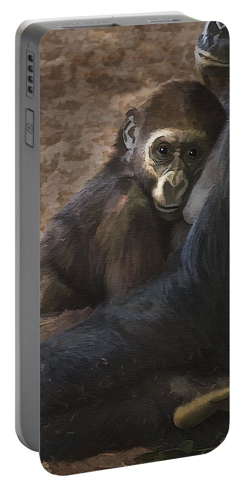 Gorilla Portable Battery Charger featuring the photograph Mother Love by Sharon Foster