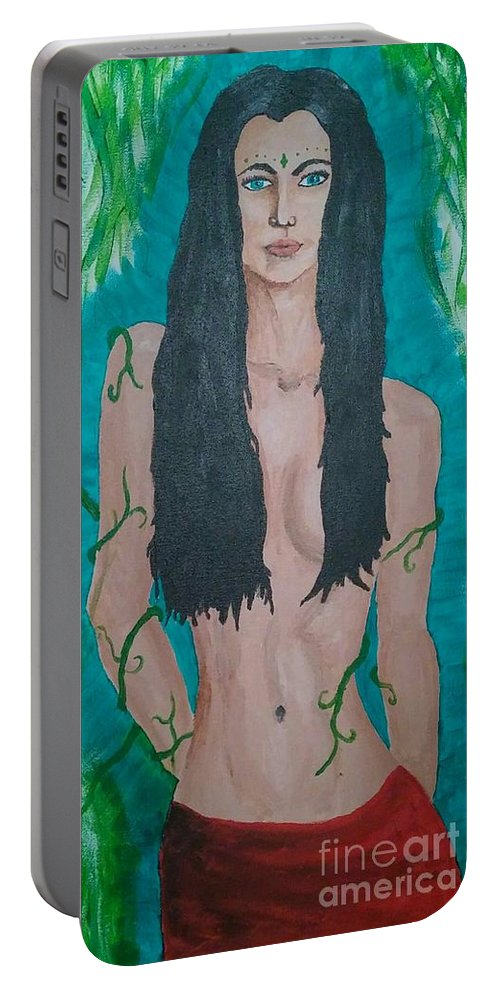 Woman Portable Battery Charger featuring the painting Mother Nature by Heather James