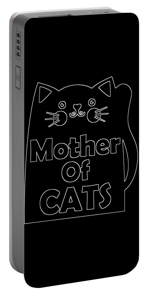 Cat Portable Battery Charger featuring the digital art Mother Of Cats 2 by Kaylin Watchorn