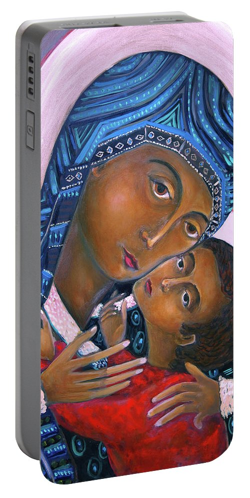 Orthodox Portable Battery Charger featuring the painting Mother Of God And Child by Andrew Osta