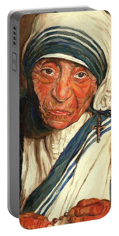 Mother Teresa Portable Battery Charger featuring the painting Mother Teresa by Carole Spandau