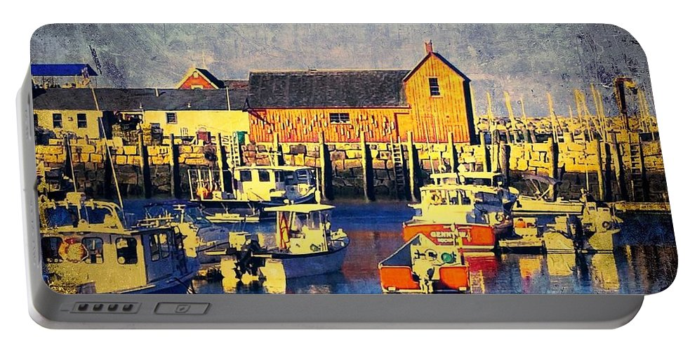 Wharf Portable Battery Charger featuring the photograph Motif No. 1 - Sunset Digital Art Oil Print by Diann Fisher