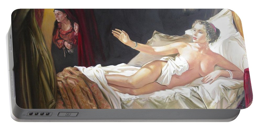 Ignatenko Portable Battery Charger featuring the painting Motif Of Danae by Sergey Ignatenko