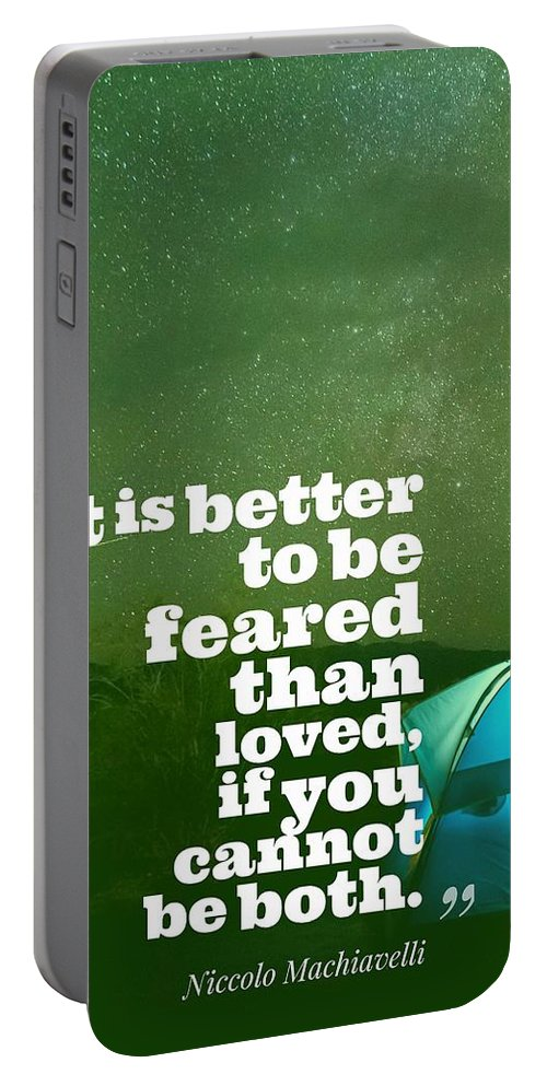 Motivational Portable Battery Charger featuring the painting Motivational Inspiring Quotes, Designed By Asar Studios - Niccolo Machiavelli by Celestial Images