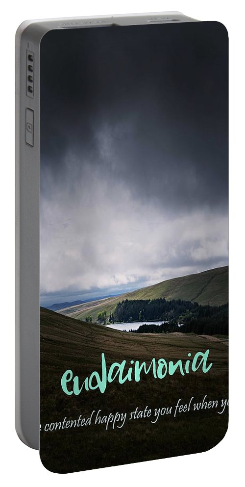 Motivational Portable Battery Charger featuring the painting Motivational Travel Poster - Eudaimonia by Celestial Images