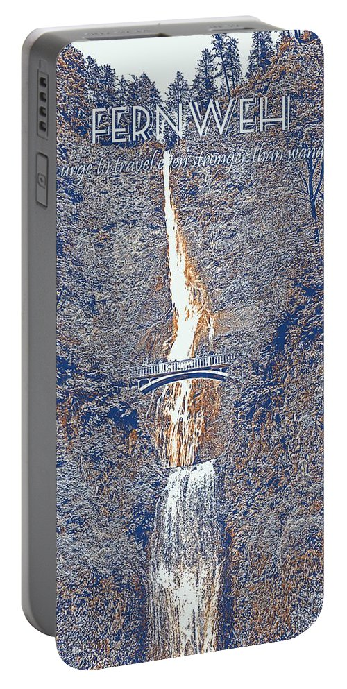 Motivational Portable Battery Charger featuring the painting Motivational Travel Poster - Fernweh 2 by Celestial Images