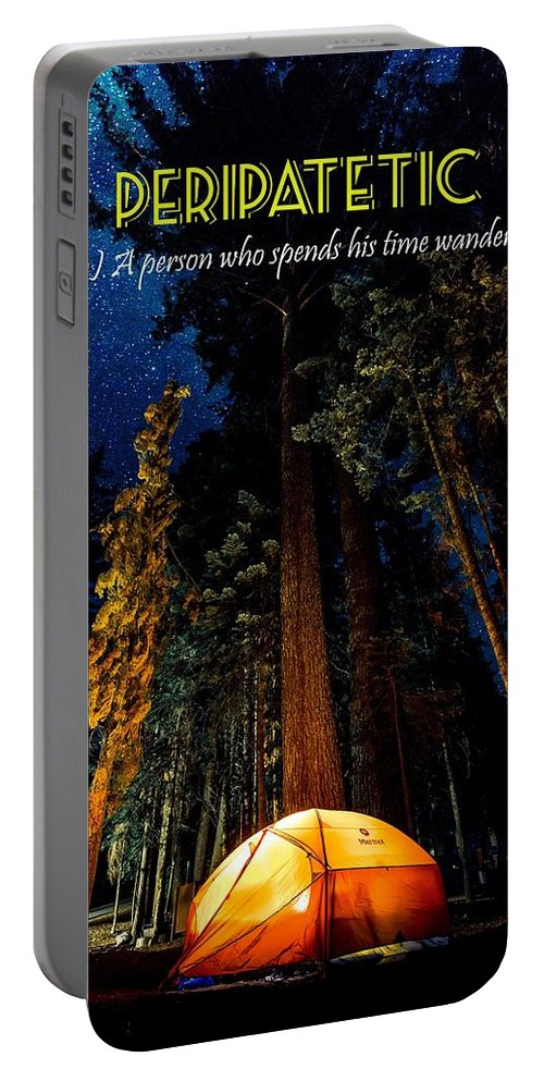 Motivational Portable Battery Charger featuring the painting Motivational Travel Poster - Peripatetic by Celestial Images