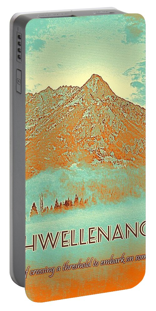 Motivational Portable Battery Charger featuring the painting Motivational Travel Poster - Schwellenangst 2 by Celestial Images