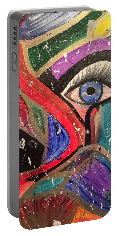 Abstract Portable Battery Charger featuring the painting Motley Eye by Alisha Anglin