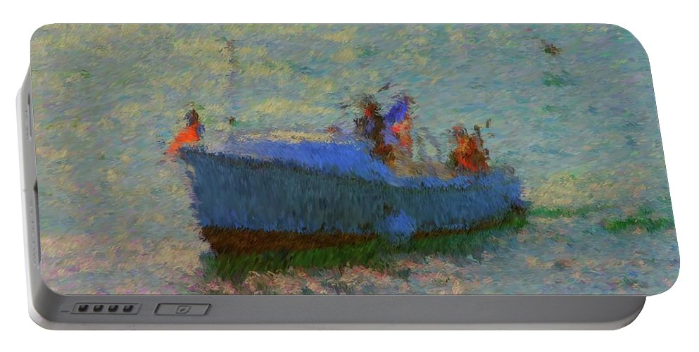 Motor Yacht Painting Portable Battery Charger featuring the painting Motor Yacht At Spruce Point Boothbay Harbor Maine by Viktor Arsenov
