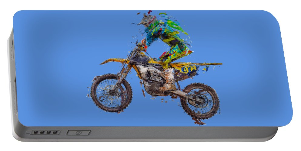 Action Portable Battery Charger featuring the photograph Motorbiker by Roy Pedersen
