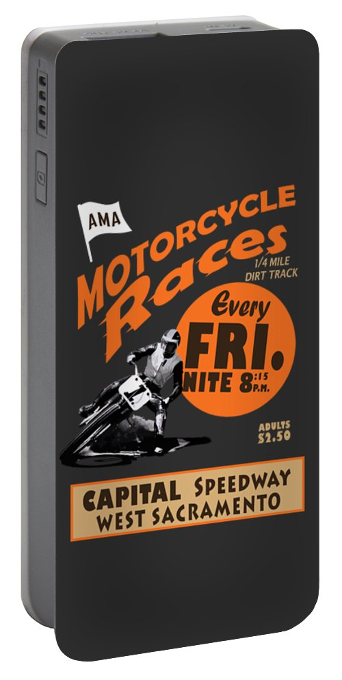 Capital Speedway West Sacramento Portable Battery Charger featuring the photograph Motorcycle Speedway Races by Mark Rogan