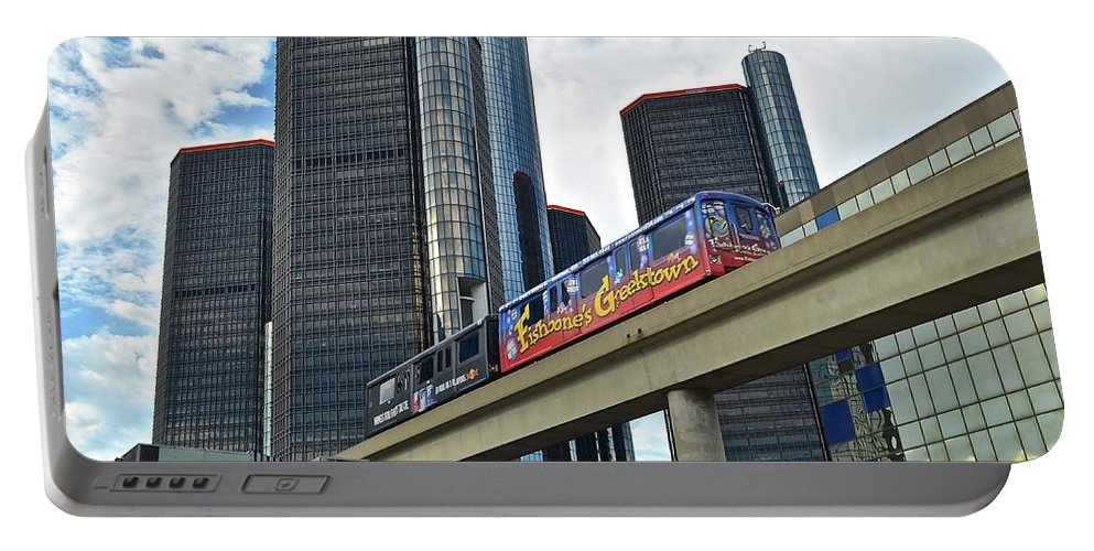Detroit Portable Battery Charger featuring the photograph Motoring In The Motor City by Frozen in Time Fine Art Photography