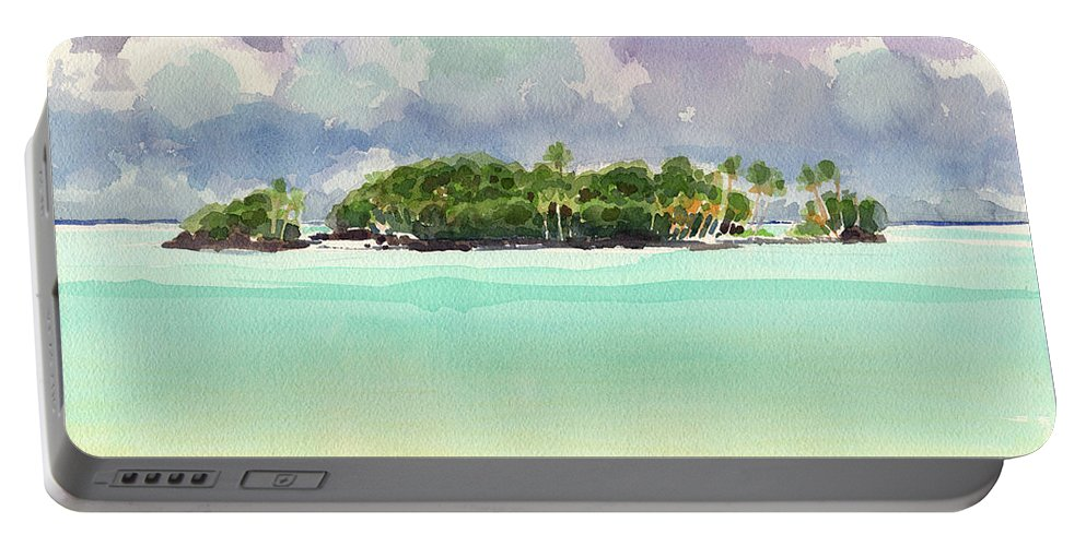 Landscape Portable Battery Charger featuring the painting Motu Rapota, Aitutaki, Cook Islands, South Pacific by Judith Kunzle